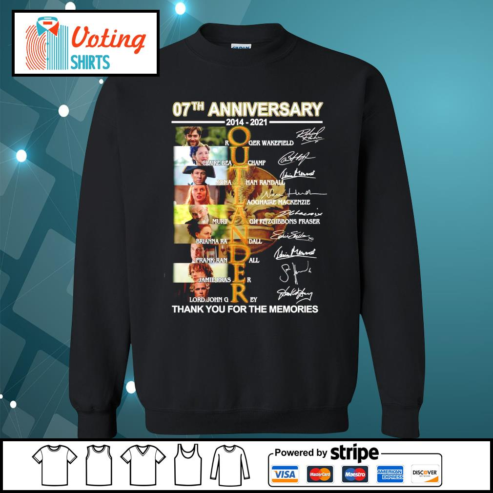 07th anniversary 2014 2021 Outlander thank you for the memories signatures sweater