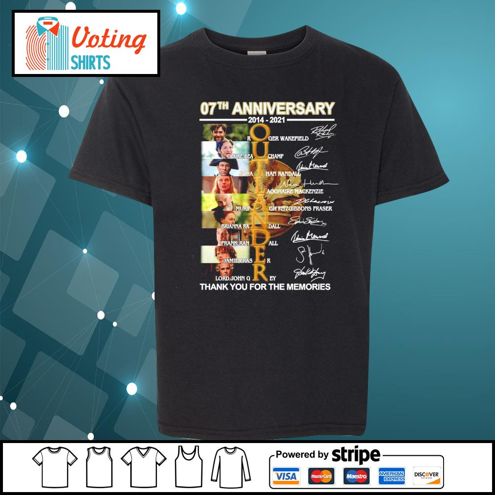 07th anniversary 2014 2021 Outlander thank you for the memories signatures youth-tee