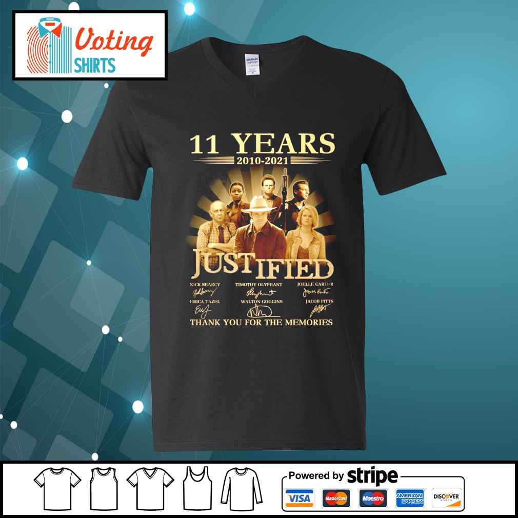 11 years 2010 2021 Justified thank you for the memories v-neck-t-shirt