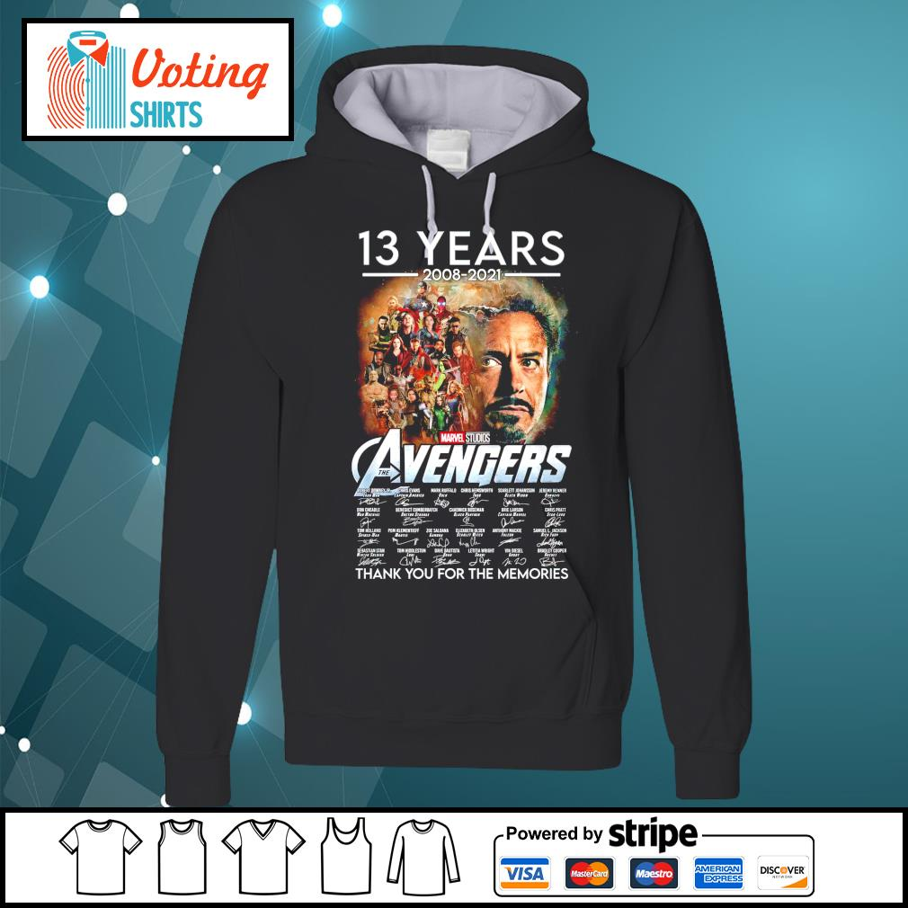 13 years 2008 2021 Marvel Studios The Avengers thank you for the memories hoodie