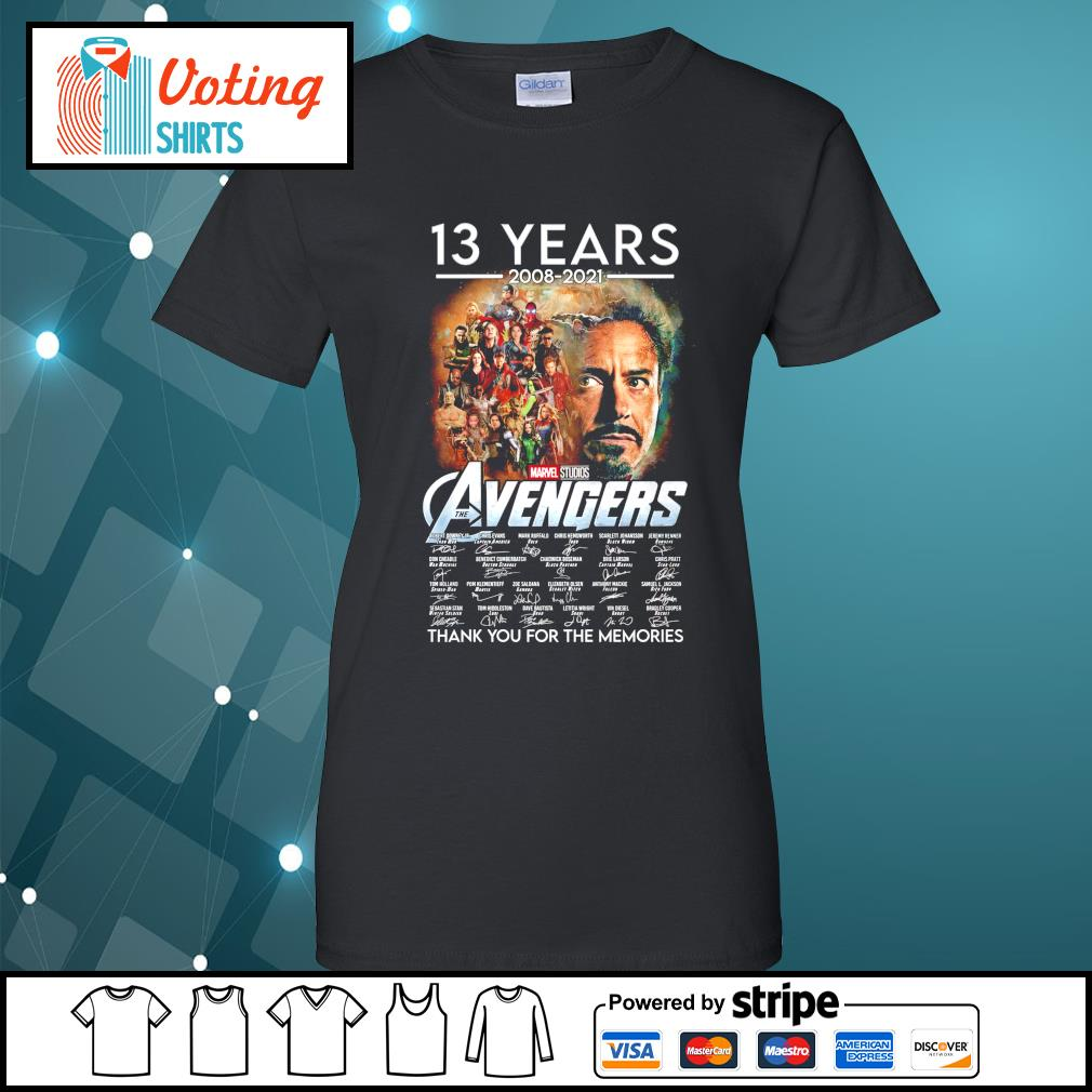 13 years 2008 2021 Marvel Studios The Avengers thank you for the memories ladies-tee