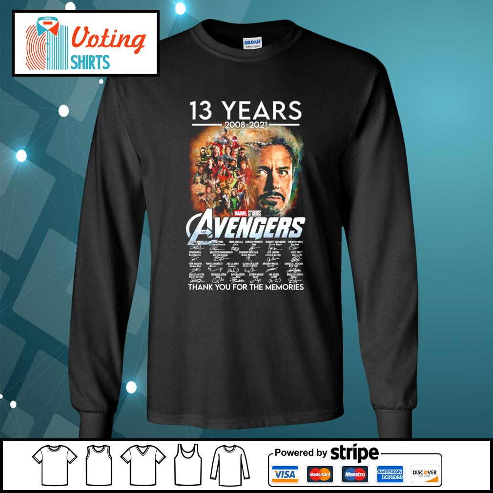 13 years 2008 2021 Marvel Studios The Avengers thank you for the memories longsleeve-tee