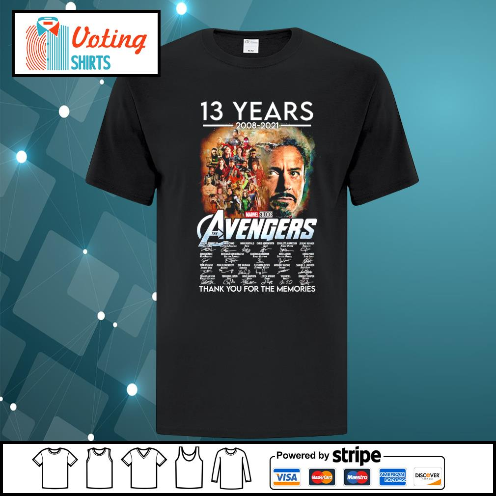 13 years 2008 2021 Marvel Studios The Avengers thank you for the memories shirt