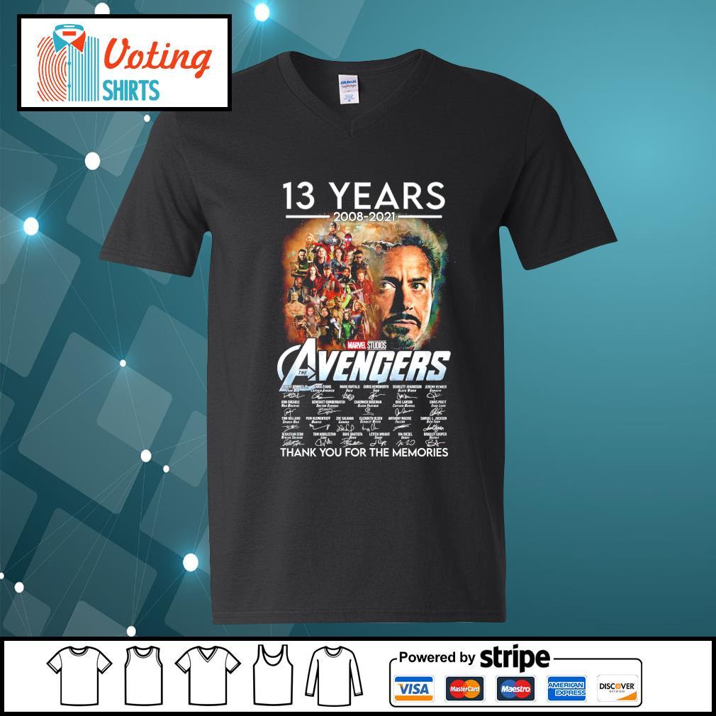 13 years 2008 2021 Marvel Studios The Avengers thank you for the memories v-neck-t-shirt