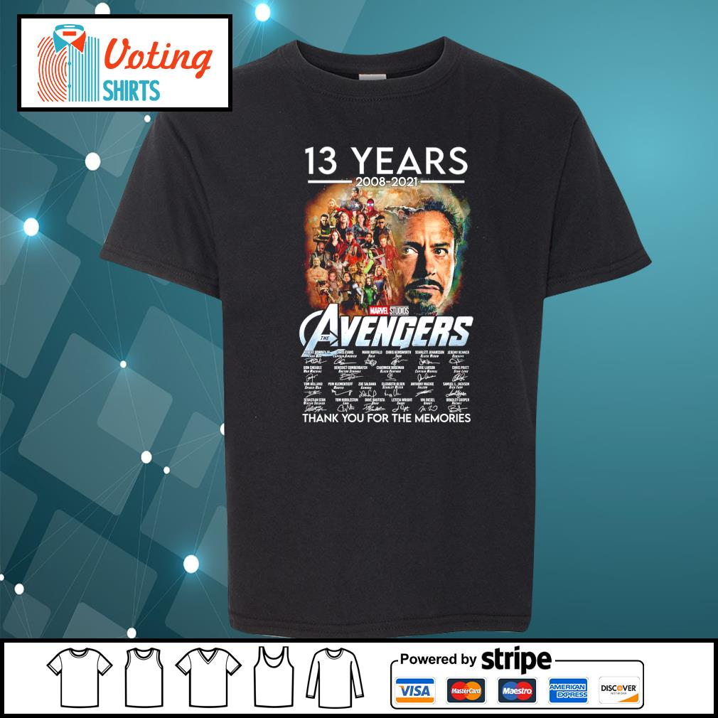 13 years 2008 2021 Marvel Studios The Avengers thank you for the memories youth-tee