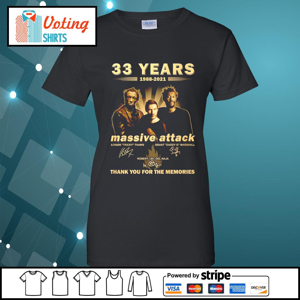 33 years 1988 2021 Massive Attack thank you for the memories ladies-tee