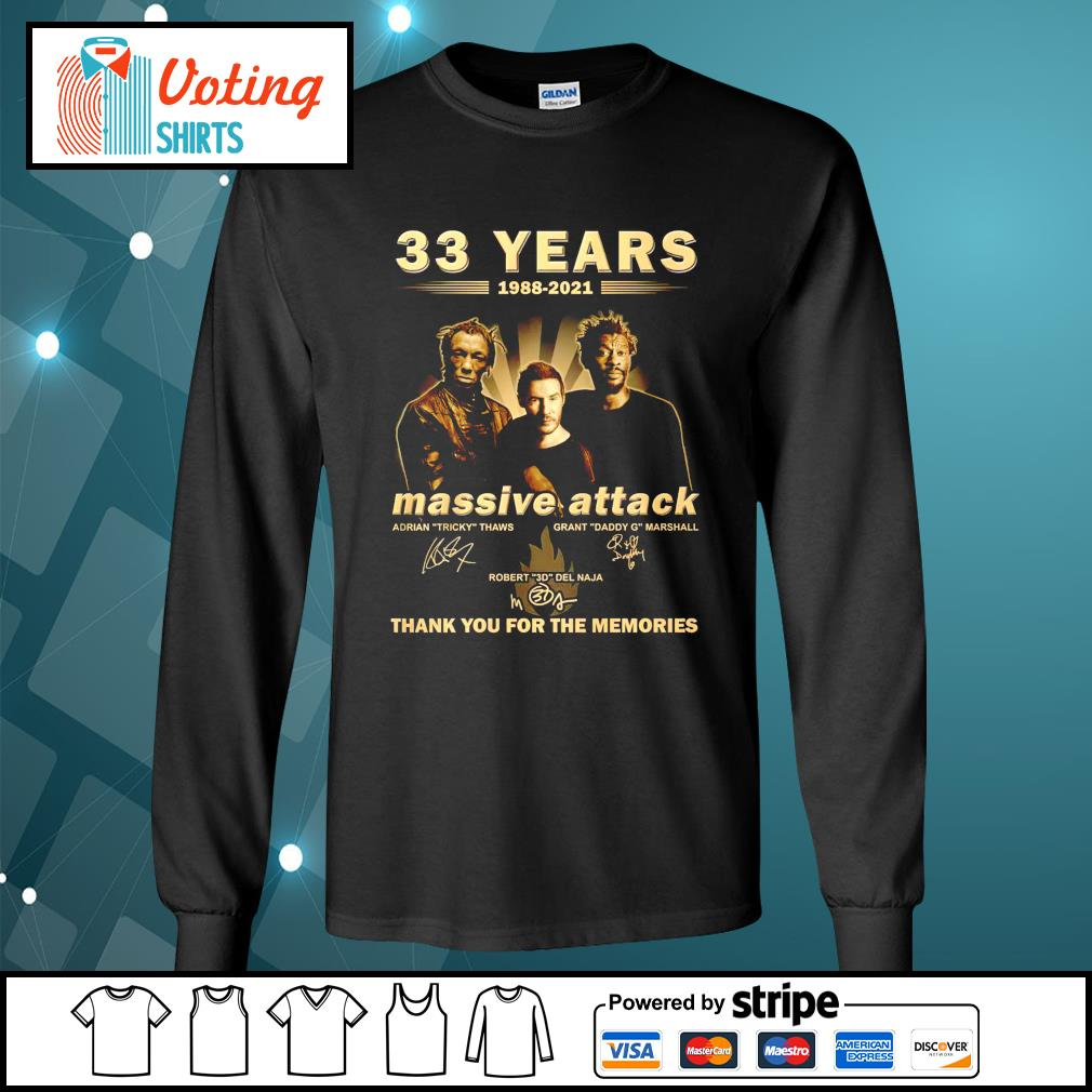 33 years 1988 2021 Massive Attack thank you for the memories longsleeve-tee