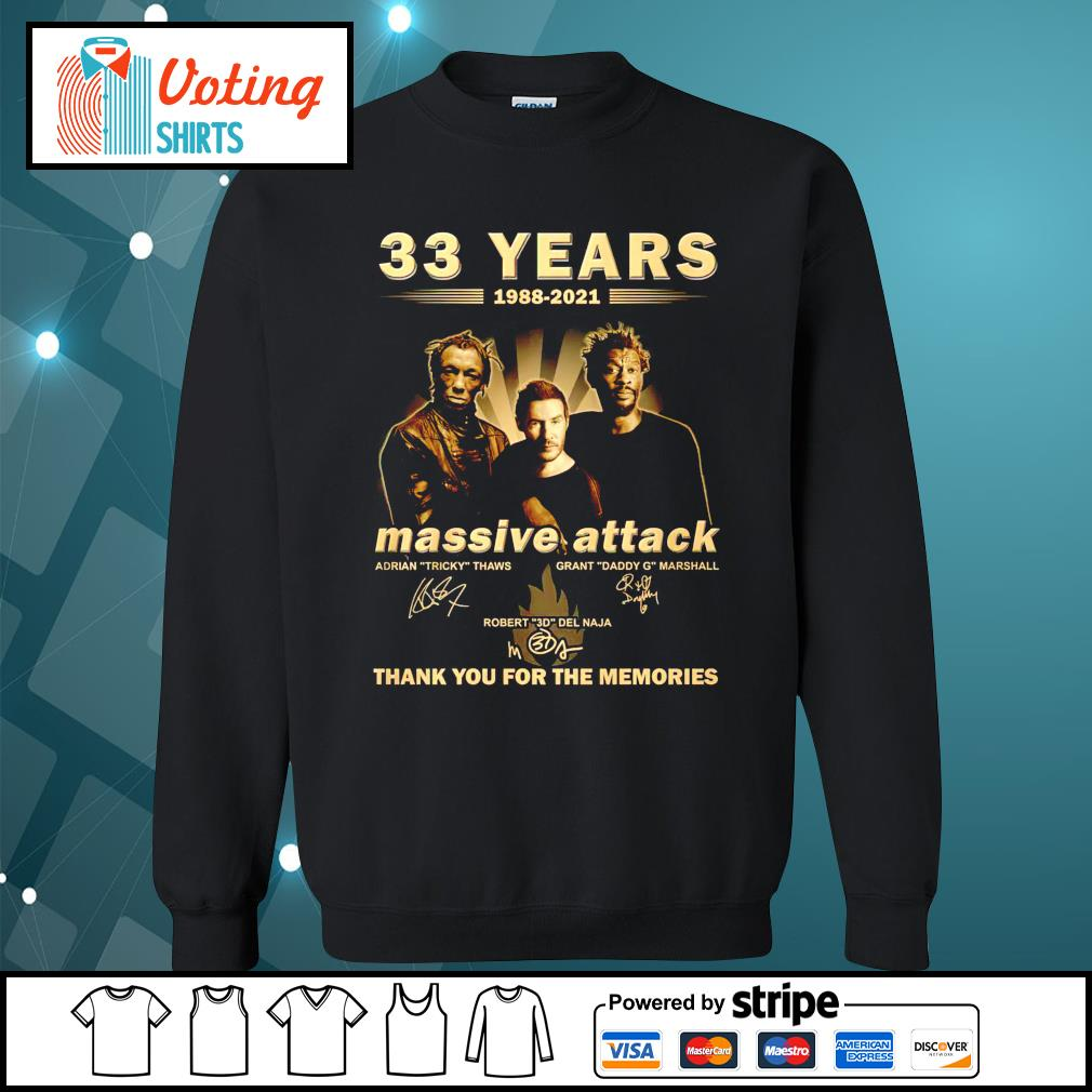 33 years 1988 2021 Massive Attack thank you for the memories sweater
