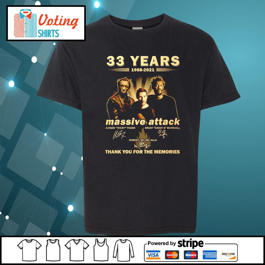 33 years 1988 2021 Massive Attack thank you for the memories youth-tee