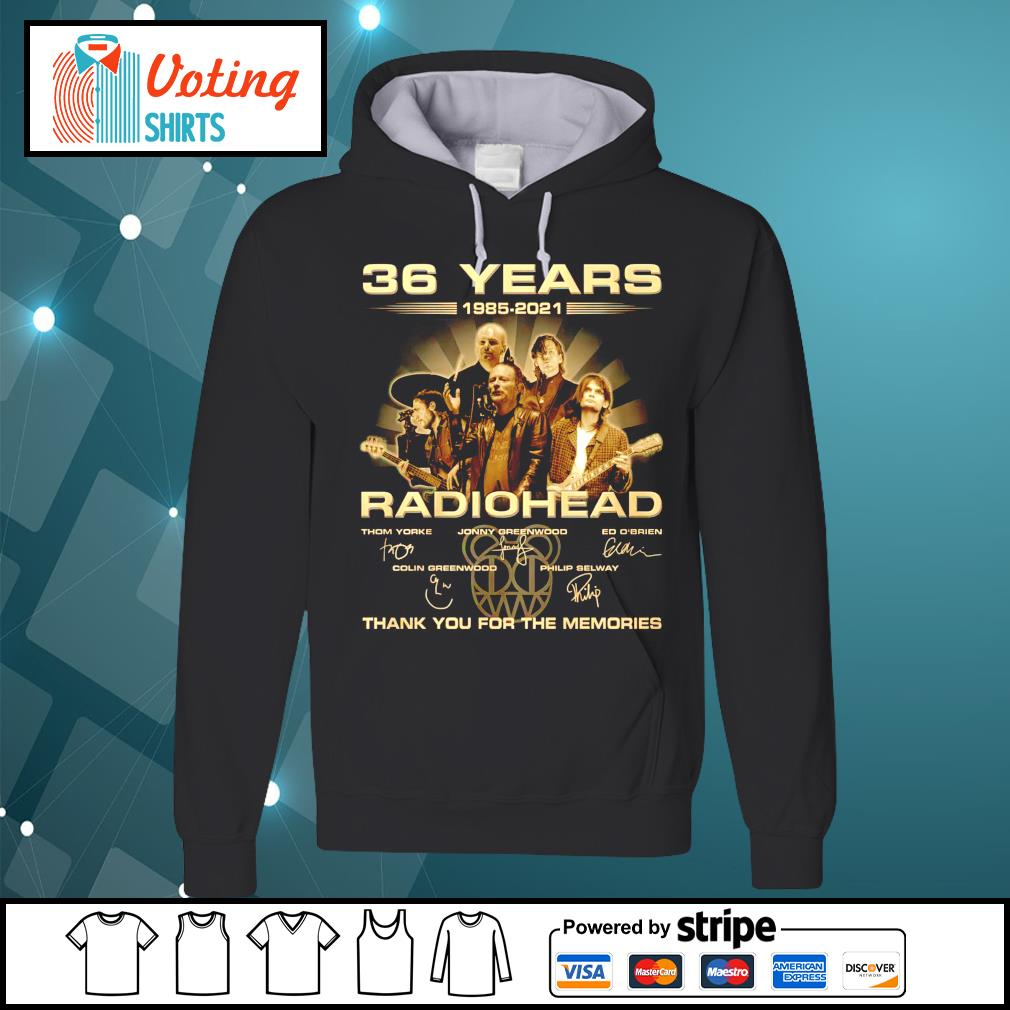 36 years 1985 2021 Radiohead thank you for the memories hoodie