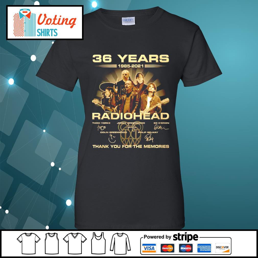 36 years 1985 2021 Radiohead thank you for the memories ladies-tee