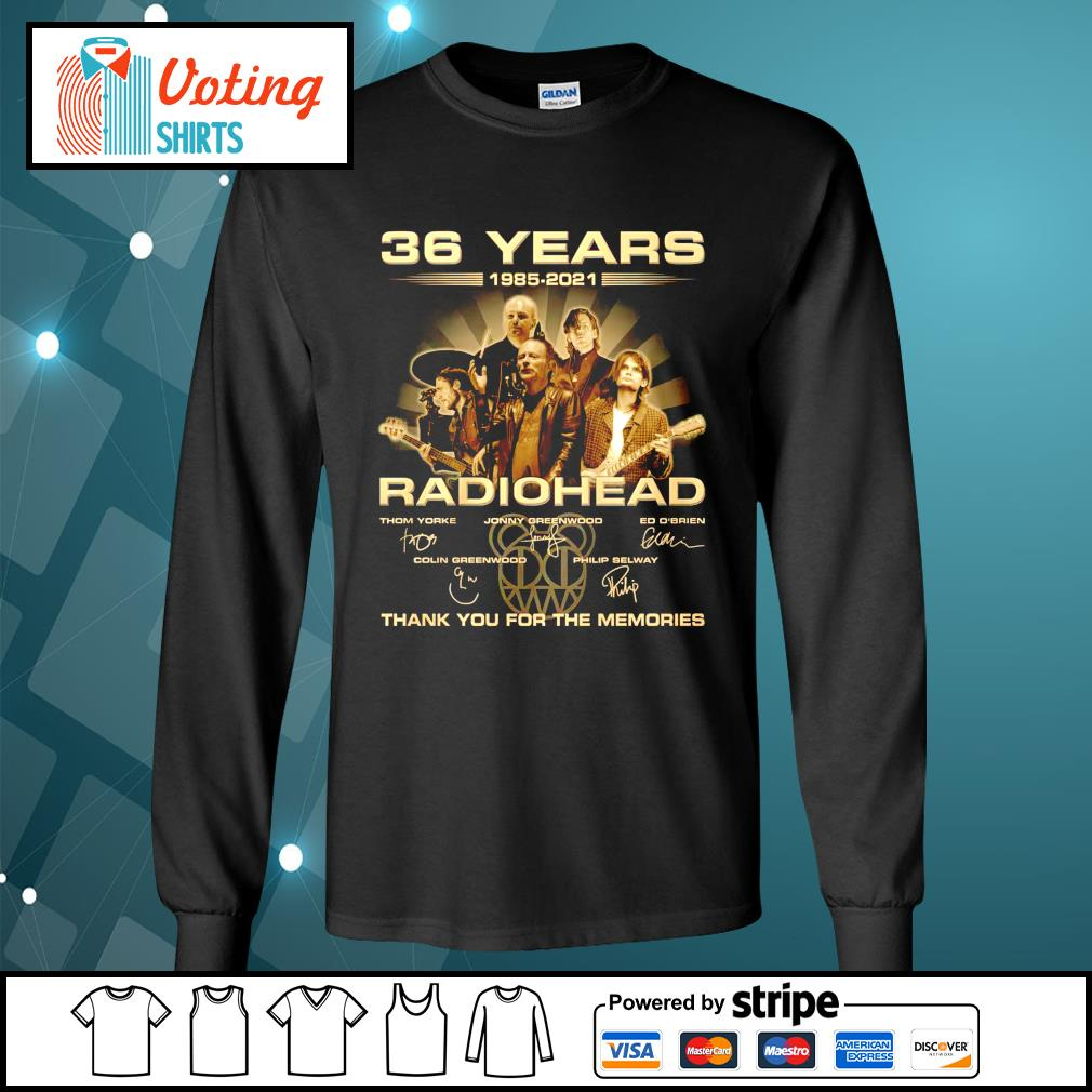 36 years 1985 2021 Radiohead thank you for the memories longsleeve-tee