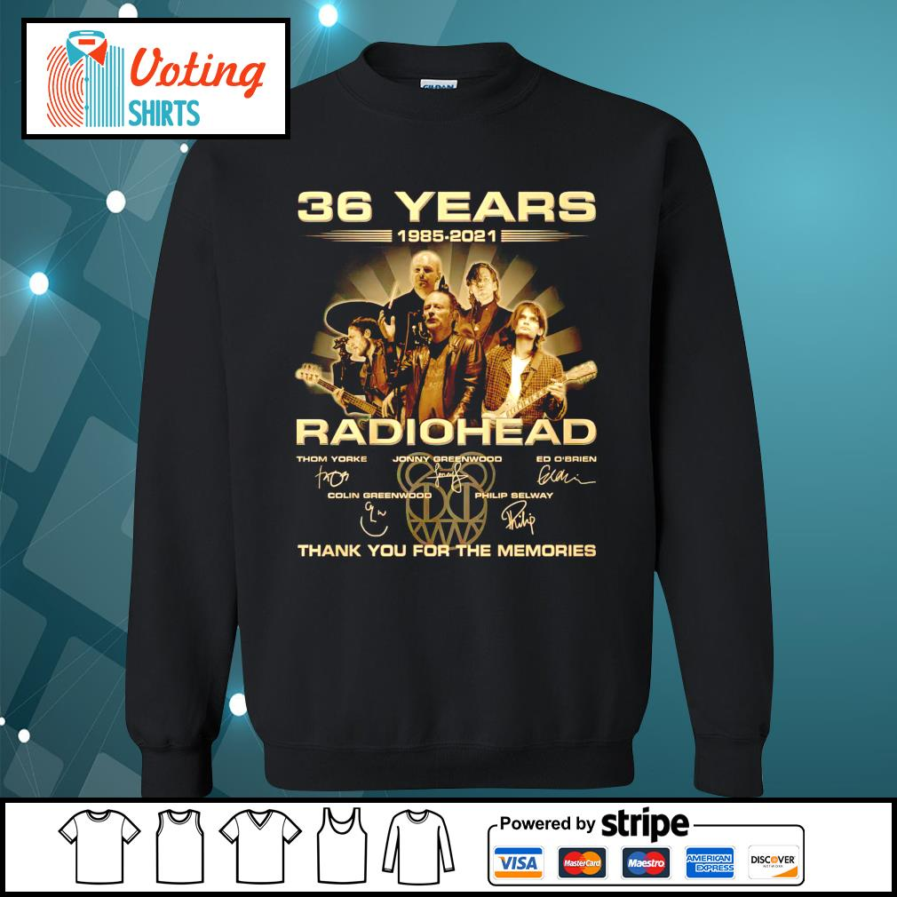 36 years 1985 2021 Radiohead thank you for the memories sweater