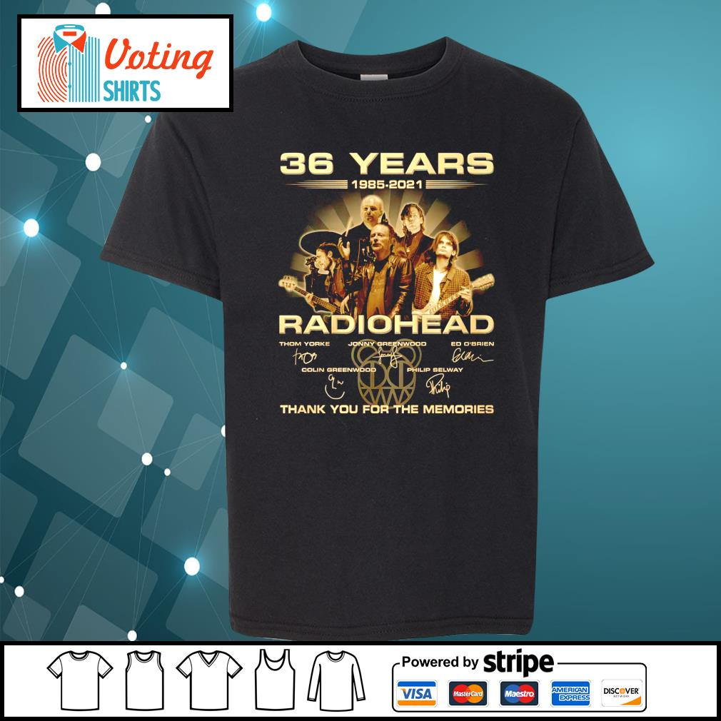 36 years 1985 2021 Radiohead thank you for the memories youth-tee