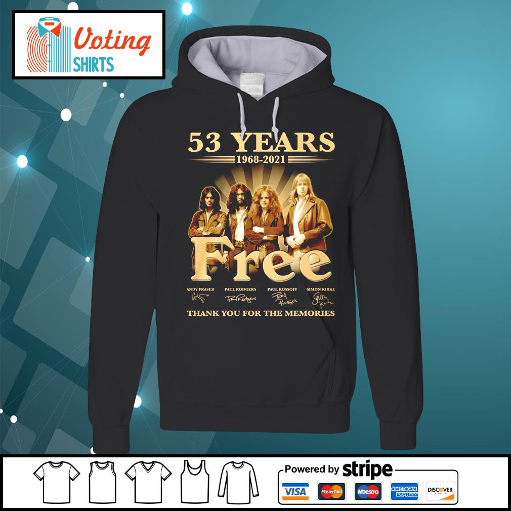53 years 1968 2021 Free thank you for the memories hoodie