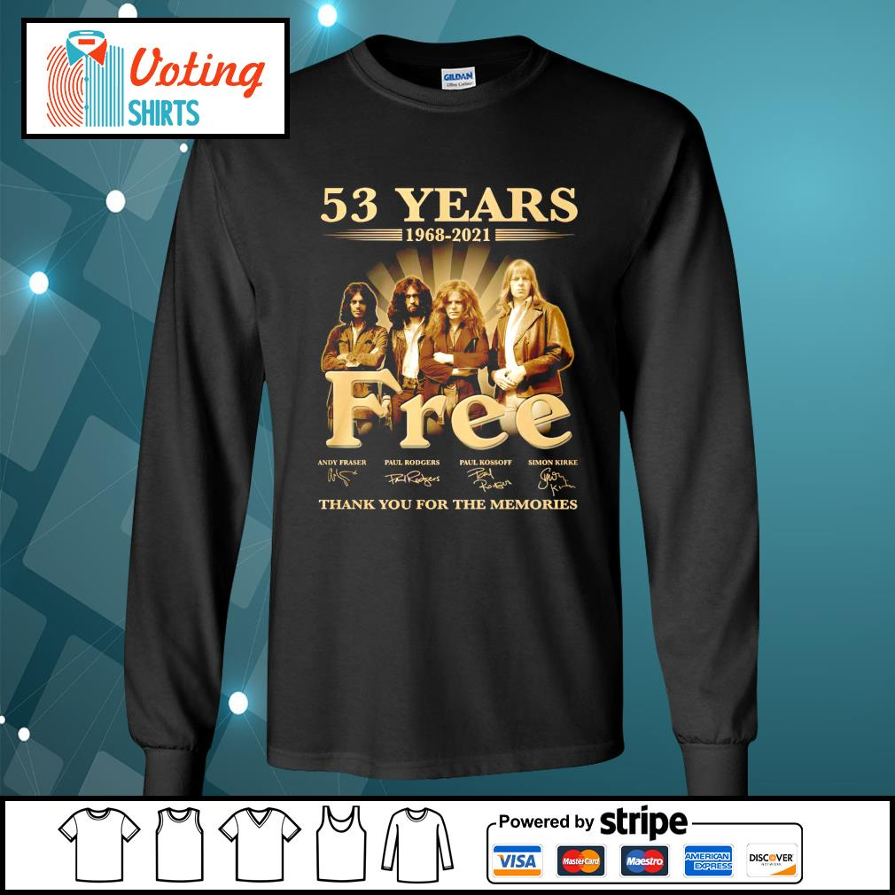53 years 1968 2021 Free thank you for the memories longsleeve-tee
