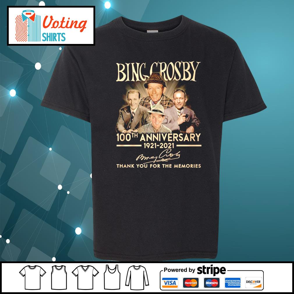 Bing Crosby 100th anniversary 1921 2021 thank you for the memories youth-tee