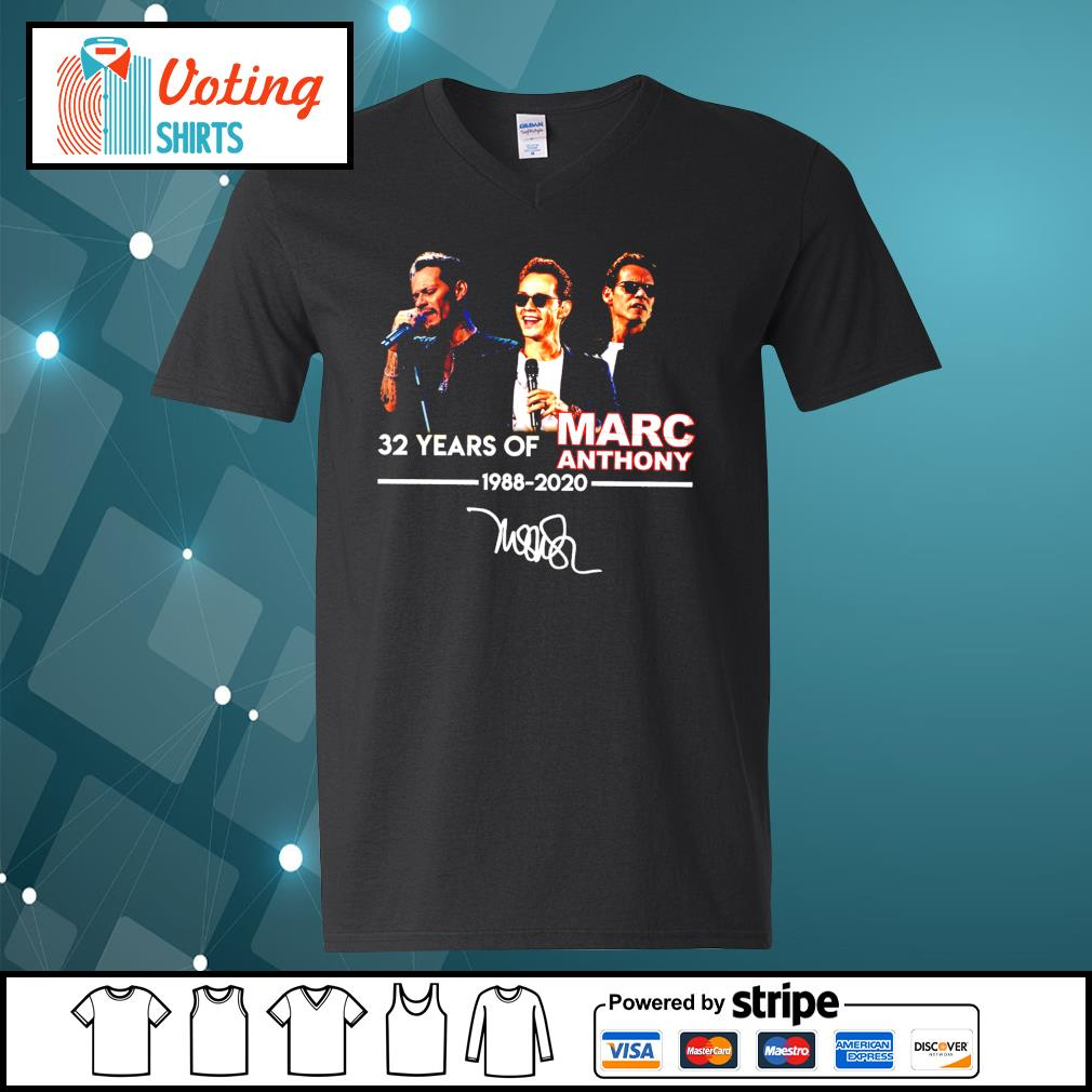 32 years of Marc Anthony 1988 2020 signatures s v-neck-t-shirt