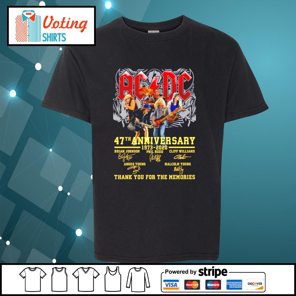 AC DC 47th anniversary 1973 2020 thank you for the memories s youth-tee