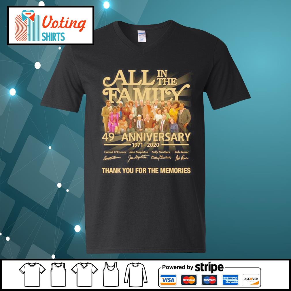 All in the Family 49th anniversary 1971 2020 thank you for the memories s v-neck-t-shirt