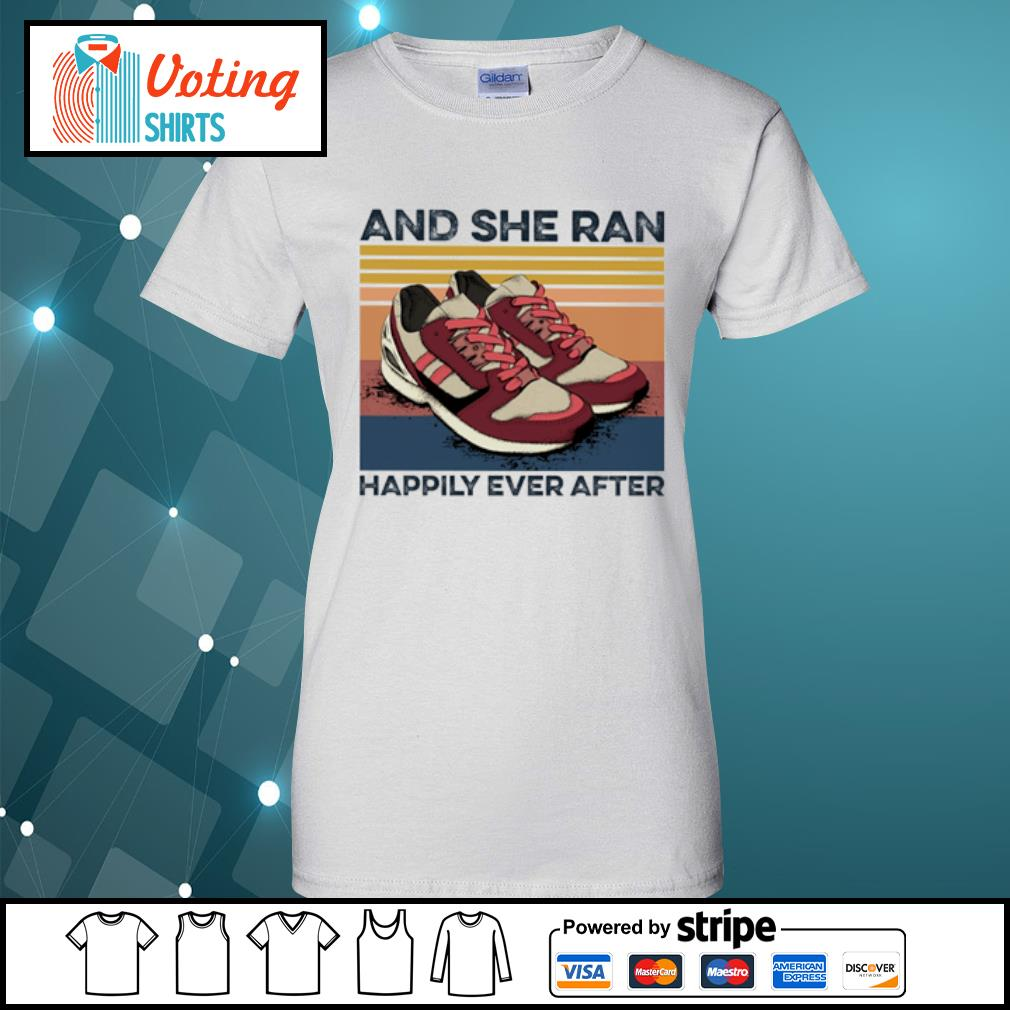 And she ran happily ever after vintage s ladies-tee