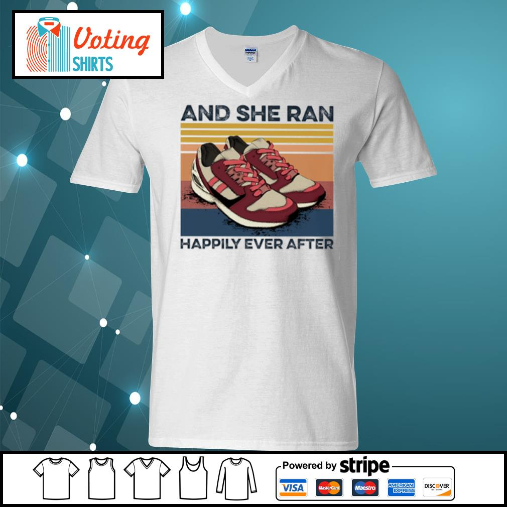 And she ran happily ever after vintage s v-neck-t-shirt