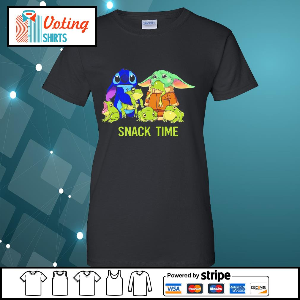 Baby Yoda and Stitch snack time s ladies-tee