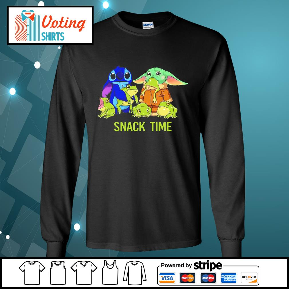 Baby Yoda and Stitch snack time s longsleeve-tee