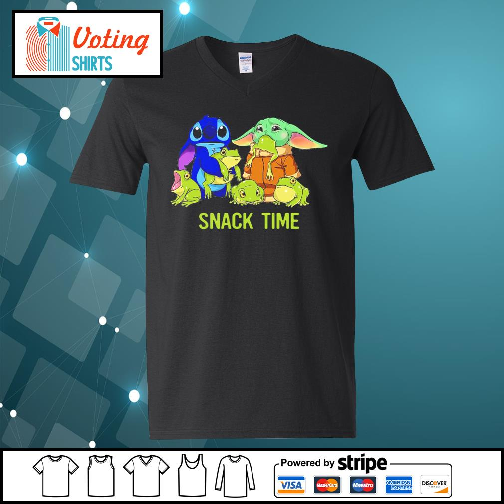 Baby Yoda and Stitch snack time s v-neck-t-shirt
