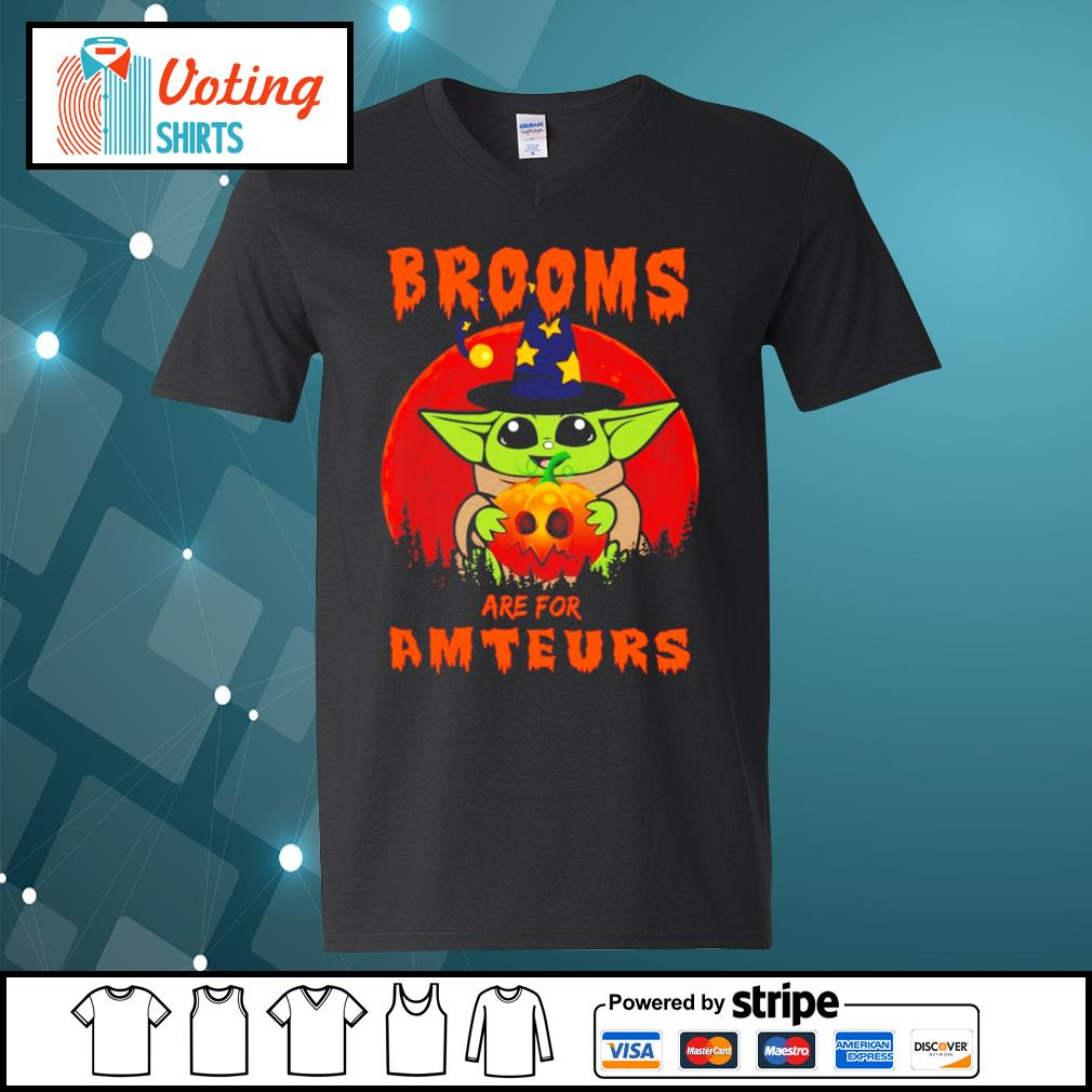 Baby yoda brooms are for amteurs halloween s v-neck-t-shirt