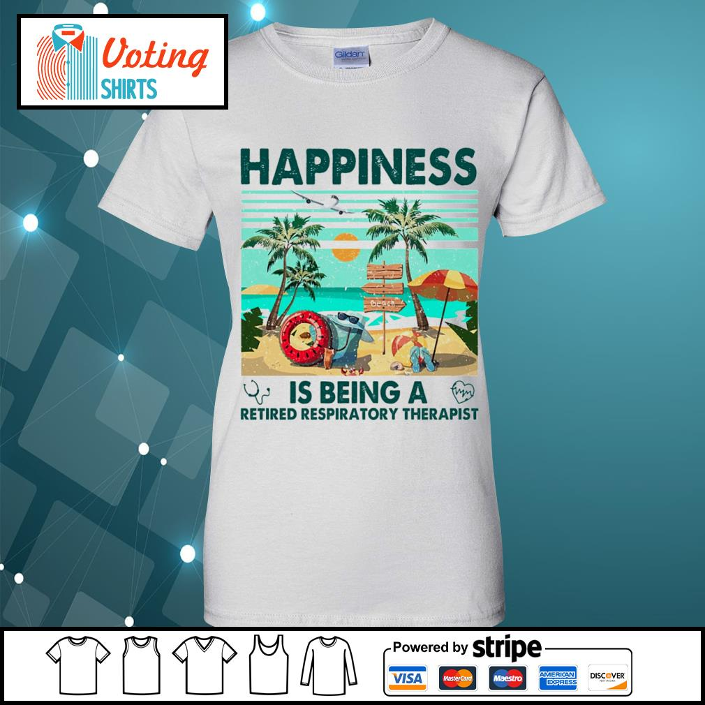 Beach happiness is being a retired respiratory therapist vintage s ladies-tee