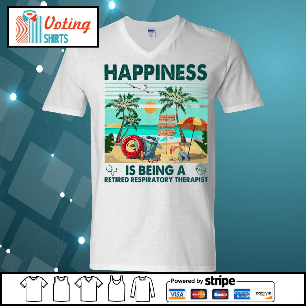 Beach happiness is being a retired respiratory therapist vintage s v-neck-t-shirt