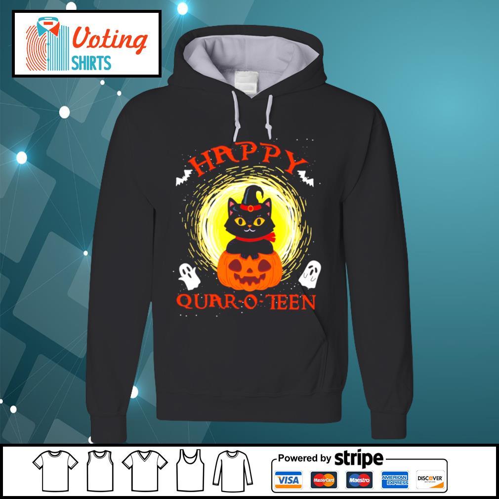 Black cat pumpkin happy quar-o-teen halloween s hoodie