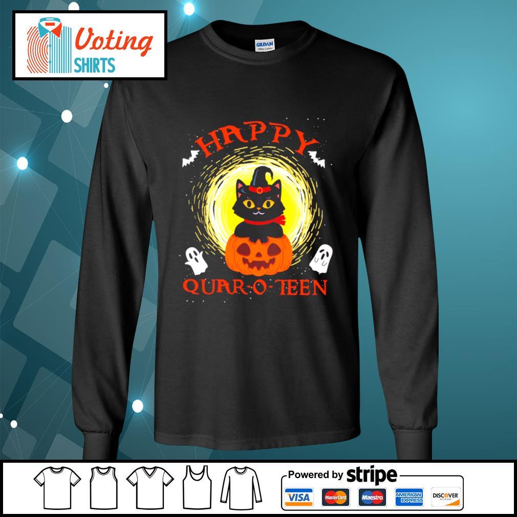 Black cat pumpkin happy quar-o-teen halloween s longsleeve-tee