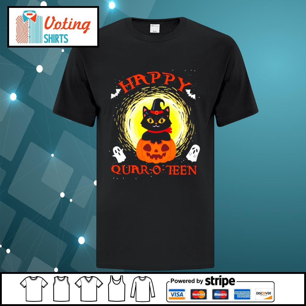 Black cat pumpkin happy quar-o-teen halloween shirt