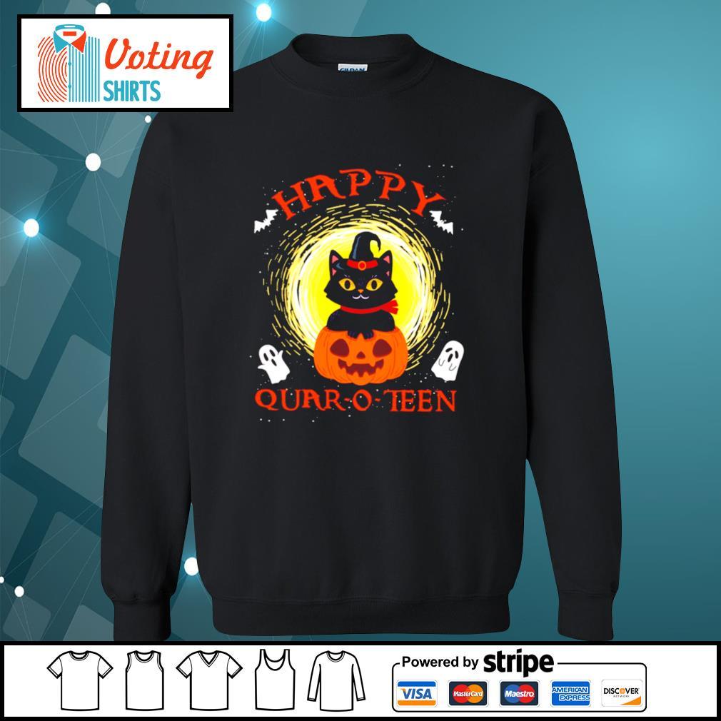 Black cat pumpkin happy quar-o-teen halloween s sweater