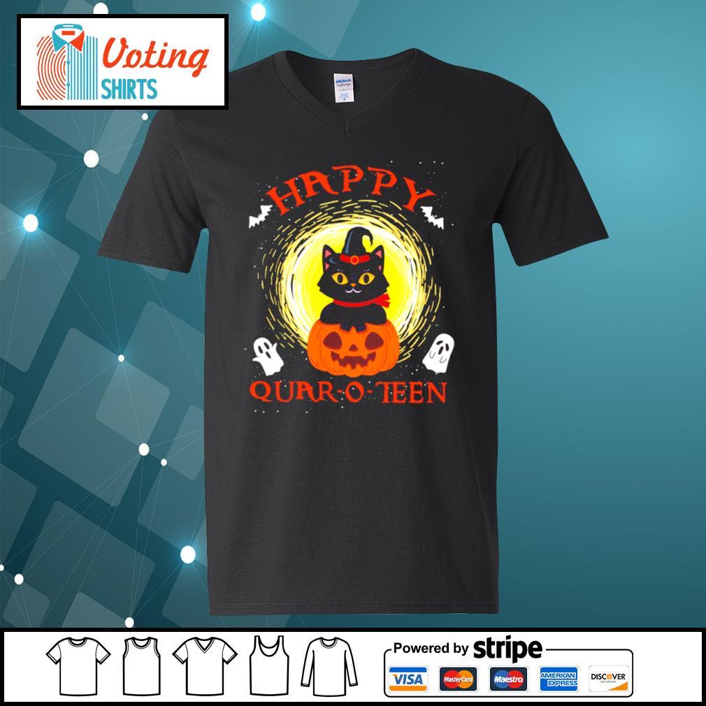 Black cat pumpkin happy quar-o-teen halloween s v-neck-t-shirt