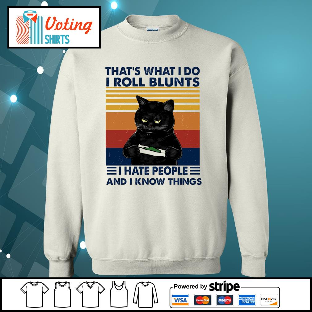 Black cat that's what I do I roll blunts I cut people and I know things vintage s sweater
