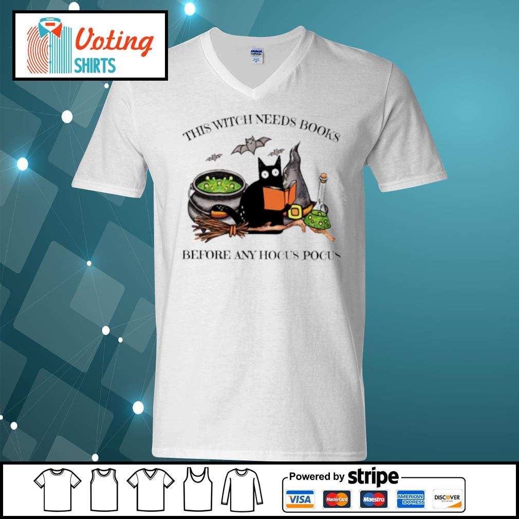 Black Cat this witch needs books before any hocus pocus s v-neck-t-shirt