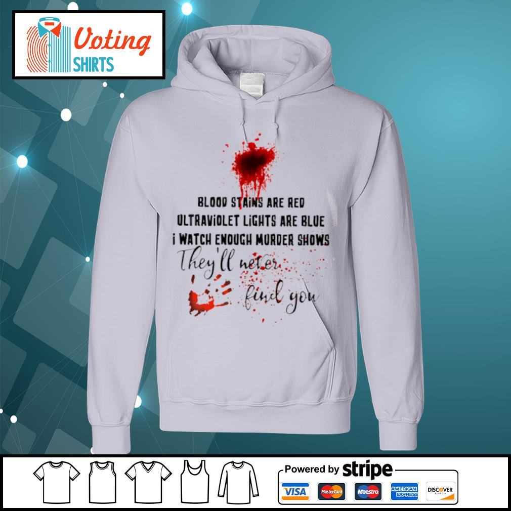 Blood stains are red ultraviolet lights are blue I watch enough murder shows they_ll never find you s hoodie