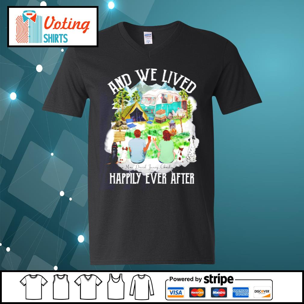 Camping dogs and cat and we lived happily ever after s v-neck-t-shirt