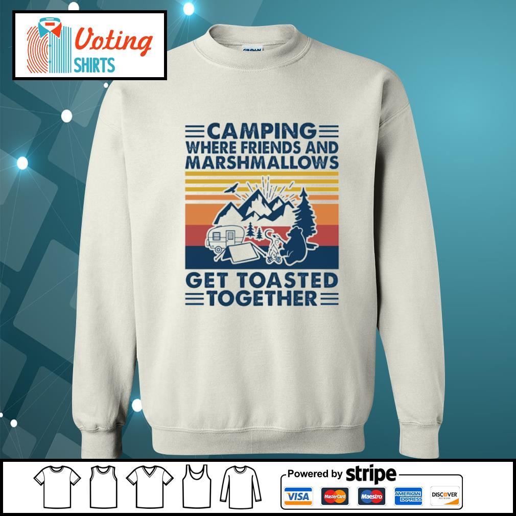 Camping where friends and marshmallows get toasted together vintage s sweater