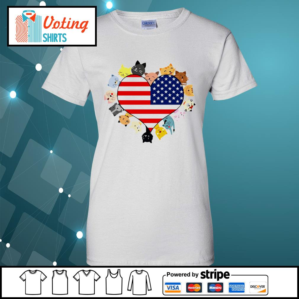 Cat love black live matter american flag s ladies-tee