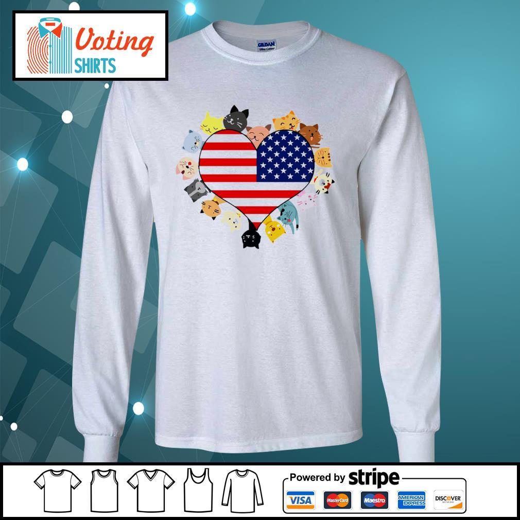 Cat love black live matter american flag s longsleeve-tee