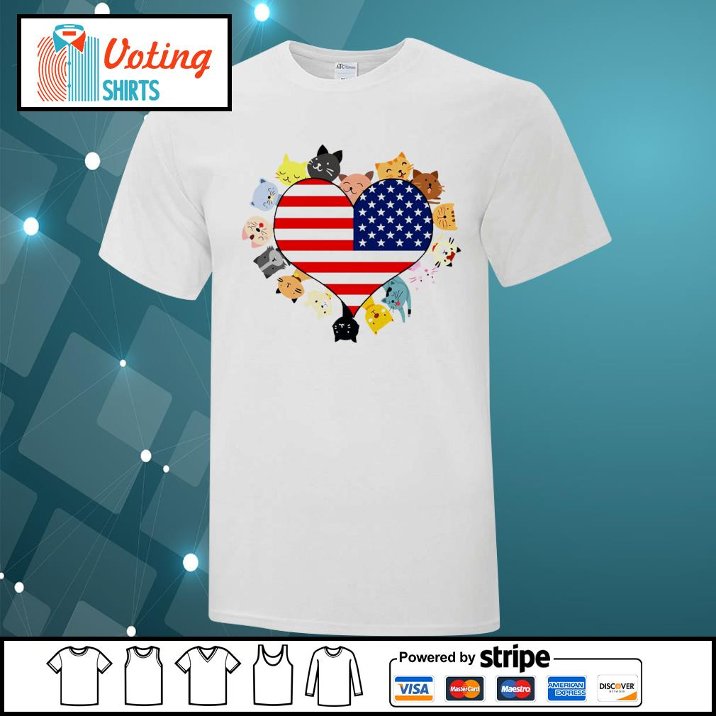 Cat love black live matter american flag shirt