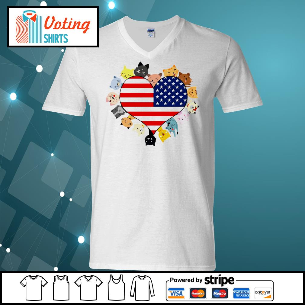 Cat love black live matter american flag s v-neck-t-shirt