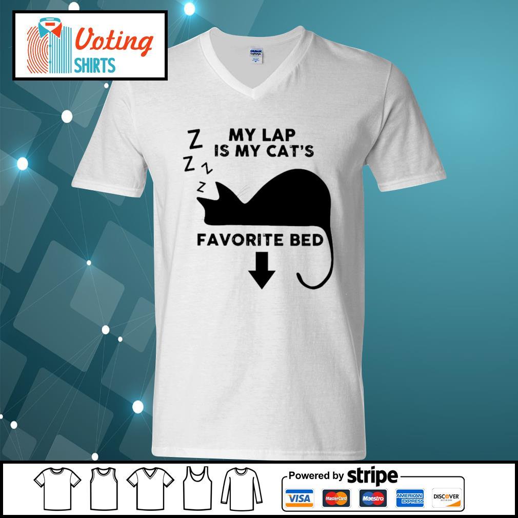 Cat my lap is my cat_s favorite bed s v-neck-t-shirt