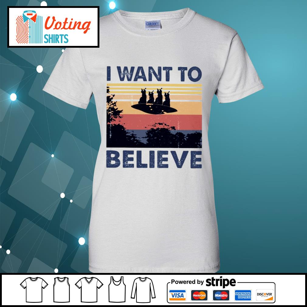 Cats UFO I want to believe vintage s ladies-tee