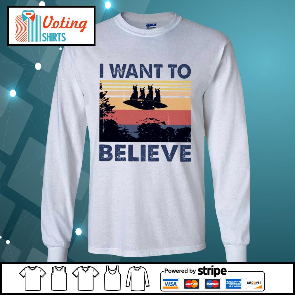 Cats UFO I want to believe vintage s longsleeve-tee