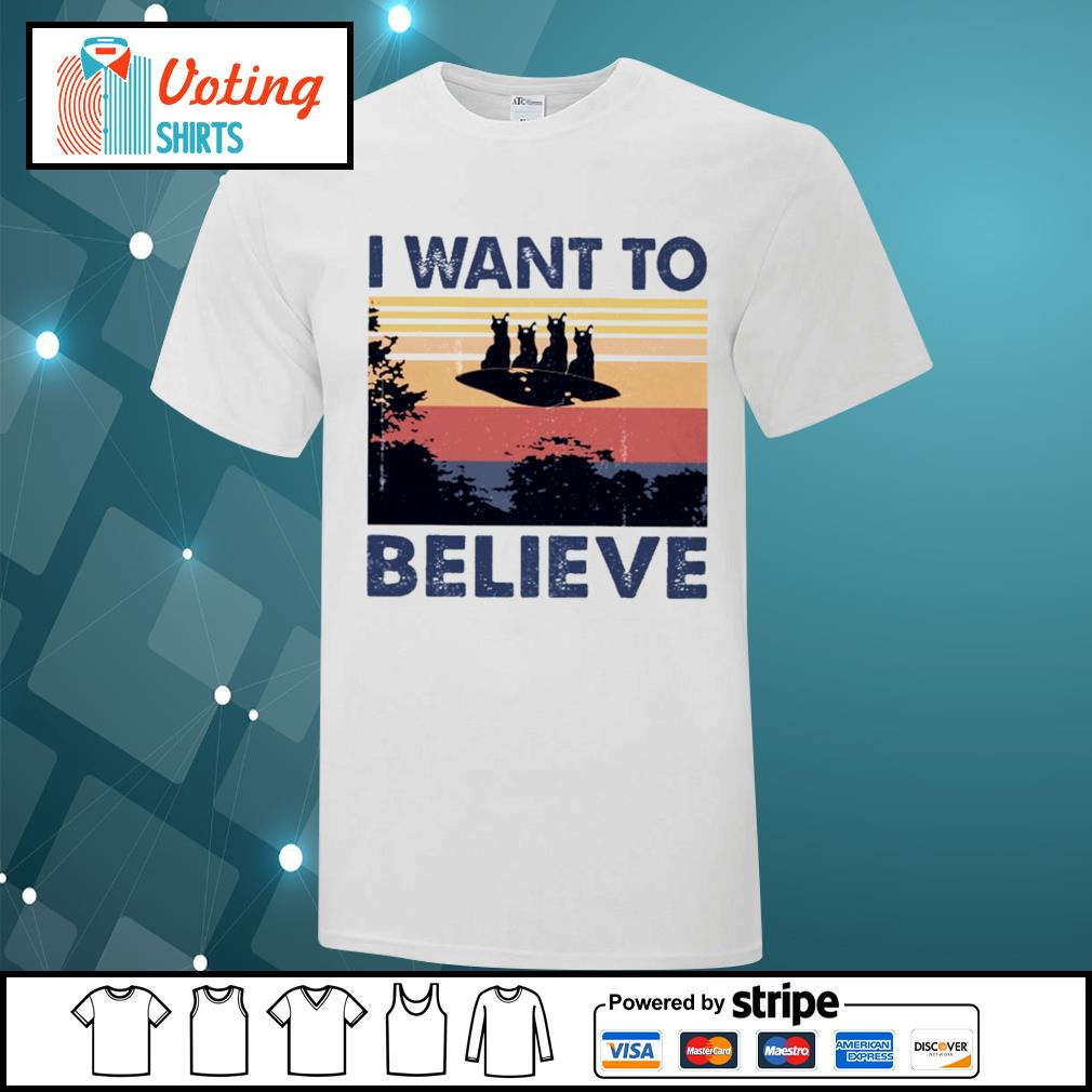 Cats UFO I want to believe vintage shirt